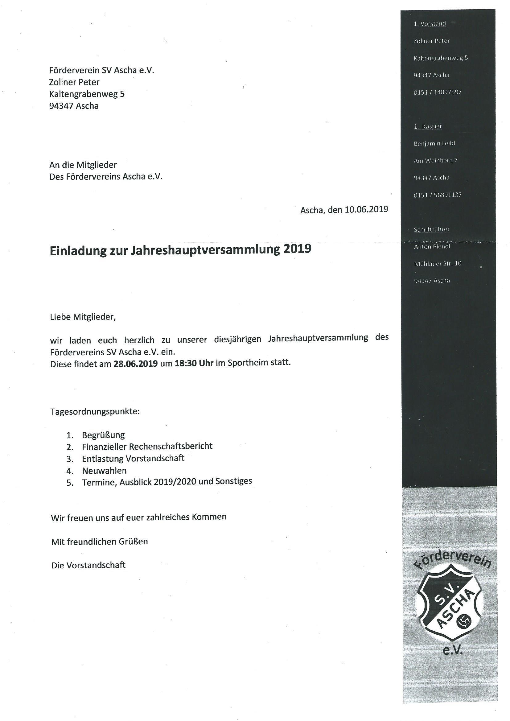 Einladung Förderverein JHV 2019
