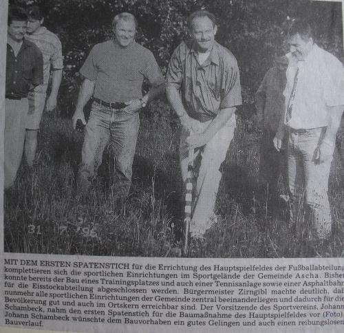 Spatenstich zum Hauptspielfeld am 31.07.1996 006