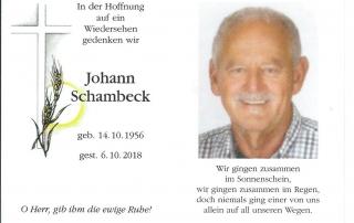 Sterbebild Johann Schambeck