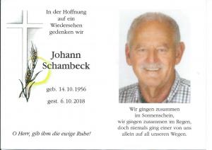 Ehrenvorsitzender Johann Schambeck