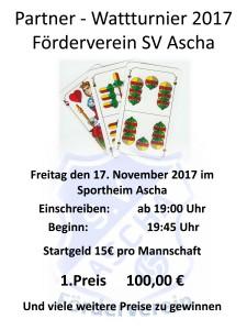 Plakat Wattturnier 2017 Förderverein SV Ascha Kopie