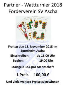 Plakat Wattturnier 2018 Förderverein SV Ascha